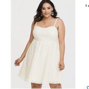 Torrid Eyelet Lace Mini Dress.Fit & Flare 2X Plus